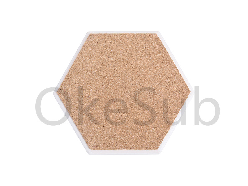 Hexagonal Ceramic Coaster with Cork