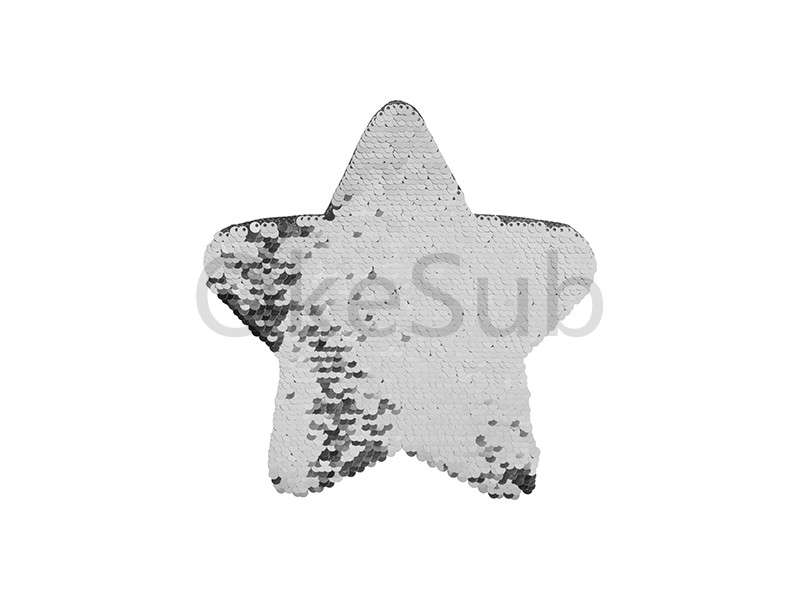 Flip Sequins Adhesive Black Base (Star, Silver With White)