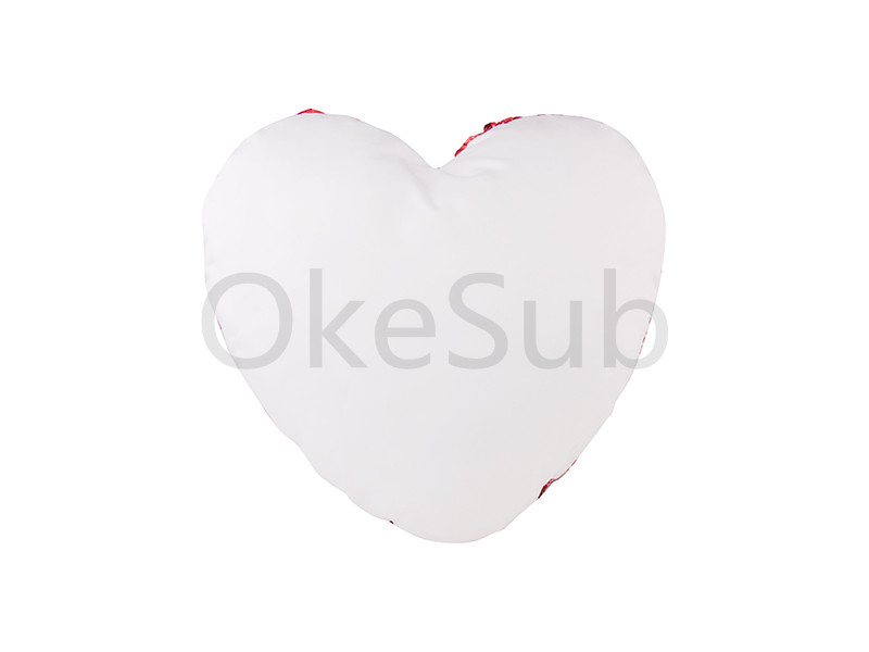 Heart Shaped Sequin Pillow Cover(Red with White, 39*44cm)