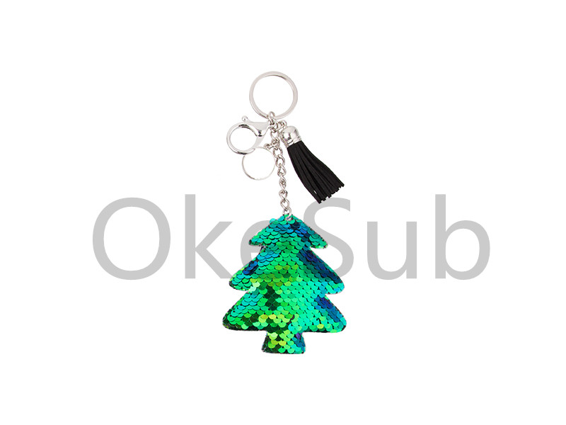 Sequin Keychain with Tassel and Insert (Blue and Green Christmas Tree)