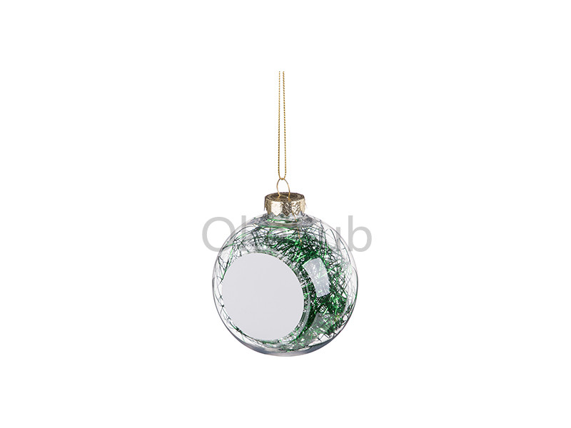 8cm Plastic Christmas Ball Ornament with Green String (Clear)