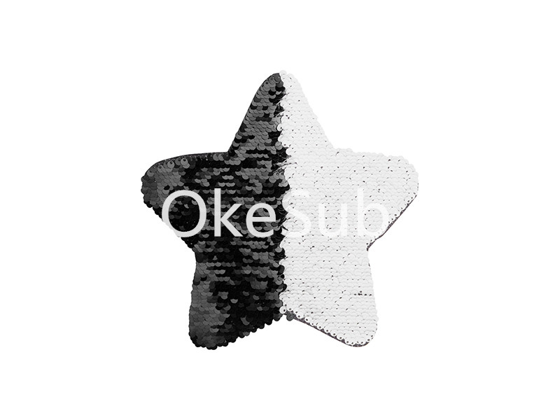 Flip Sequins Adhesive Black Base (Star, Black With White)