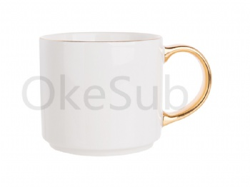 16oz Gold Rim Handle Ceramic Mug