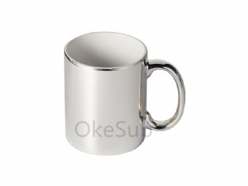 11oz Silver Plated Ceramic Mug