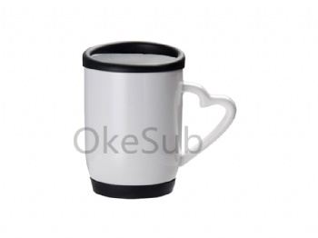 12oz 360ml Ceramic Mug with Silicon Lid and Base with Box (Black)