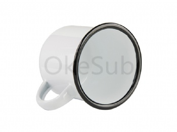 12oz 360ml Enamel Cup with Black Rim