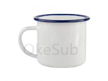 12oz 360ml Enamel Cup with Blue Rim