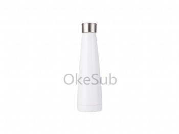 14oz 420ml Stainless Steel Pyramid Shaped Bottle (White)