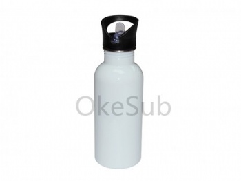 500ml Stainless Steel Water Bottle with Straw Top (white)