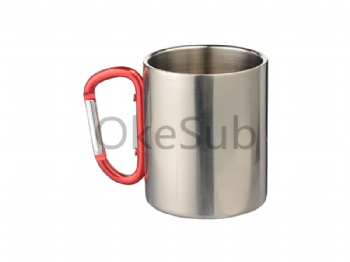 300ml Stainless Steel Mug with Red Carabiner Handle (silver)