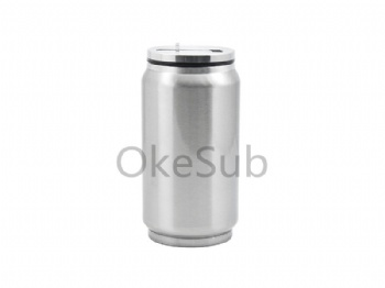 10oz 300ml Stainless Steel Coke Can with Straw(Silver)