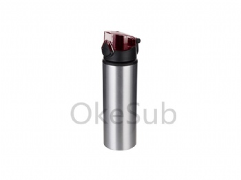 750ml Alu water bottle with red cap (Silver)
