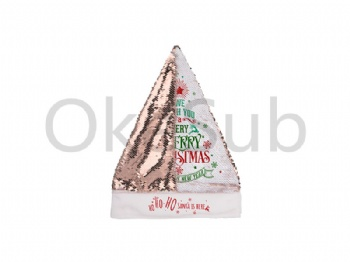 Flip Sequin Santa Hat (Champagne With White)