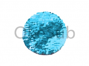 Flip Sequins Adhesive (Round, Light blue With White)