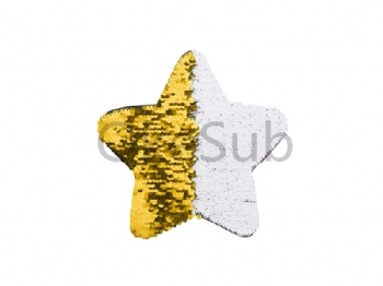 Flip Sequins Adhesive Black Base (Star, Gold With White)
