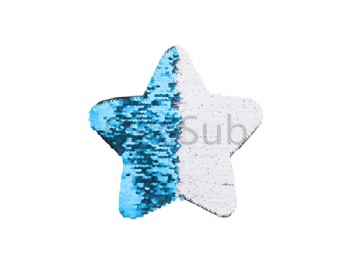 Flip Sequins Adhesive Black Base (Star, Light blue With White)
