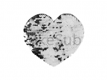 Flip Sequins Adhesive (Heart, Silver with White)