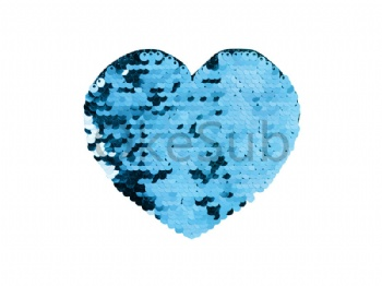 Flip Sequins Adhesive (Heart, Light blue with White)