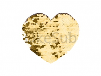 Flip Sequins Adhesive (Heart, Gold with White)