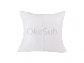Flip Sequin Pillow Cover (White with White)