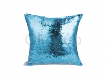 Flip Sequin Pillow Cover (White with Light Blue)
