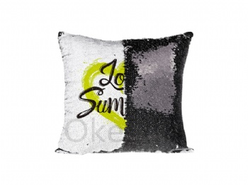 Flip Sequin Pillow Cover (White with Black)