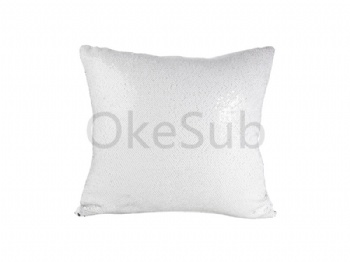 Flip Sequin Pillow Cover (White with Silver)