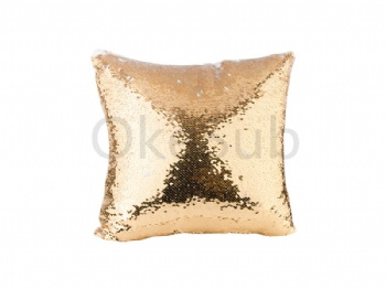 Flip Sequin Pillow Cover (White with Gold)