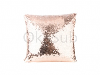 Flip Sequin Pillow Cover (White with Champagne)