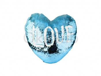 Heart Shaped Sequin Pillow Cover(Light Blue with White, 39*44cm)