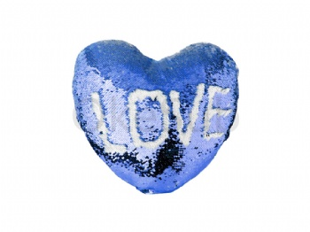 Heart Shaped Sequin Pillow Cover(Dark Blue with White, 39*44cm)