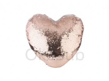Heart Shaped Sequin Pillow Cover(Champagne with White, 39*44cm)
