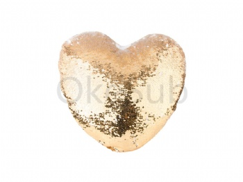 Heart Shaped Sequin Pillow Cover(Gold with White, 39*44cm)