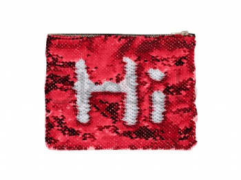 Sequin Makeup Bag Or Pencil Case (Red With White)