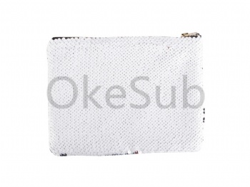 Sequin Makeup Bag Or Pencil Case (Silver With White)