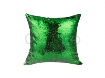 Flip Sequin Pillow Cover (White with Green)