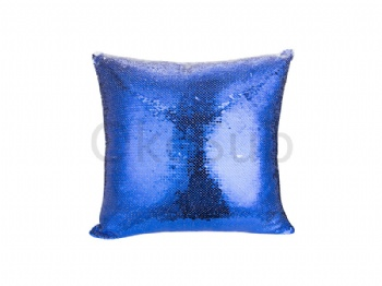 Flip Sequin Pillow Cover (White with Dark Blue)