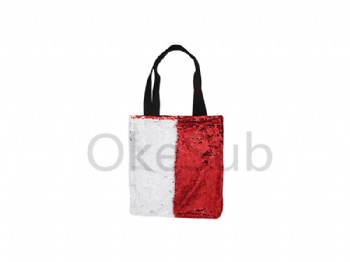 Sequin Double Layer Tote Bag (Red with White)