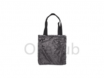 Sequin Double Layer Tote Bag (Black with White)