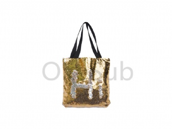 Sequin Double Layer Tote Bag (Gold with White)