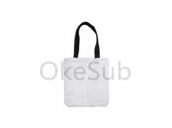 Sequin Double Layer Tote Bag (Silver with White)