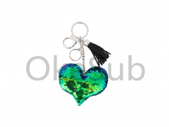 Sequin Keychain with Tassel and Insert (Blue and Green Heart)