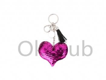 Sequin Keychain with Tassel and Insert (Purple Red Heart)