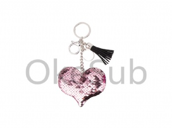 Sequin Keychain with Tassel and Insert (Pink Heart)