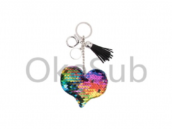 Sequin Keychain with Tassel and Insert (Mixed-Color Heart)