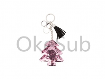 Sequin Keychain with Tassel and Insert (Pink Tree)