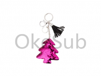 Sequin Keychain with Tassel and Insert  (Purple Red Christmas Tree)