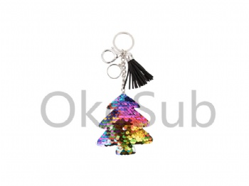 Sequin Keychain with Tassel and Insert  (Mixed-Color Christmas Tree)