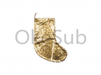 Sequin Christmas Stocking (Gold With White)