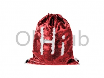 Sequin Drawstring Backpack (Red with White)